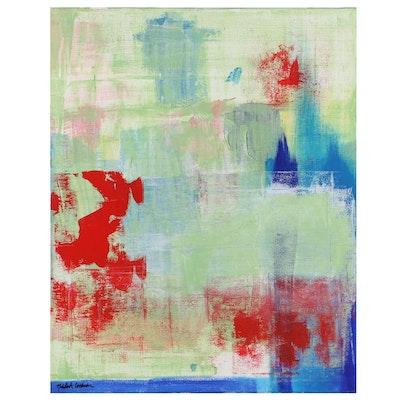 "MahLeah Cochran Abstract Acrylic Painting ""Pensive,"" 2019"