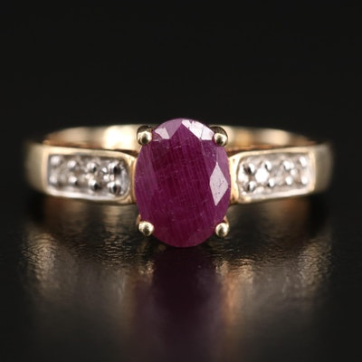 10K Corundum and Diamond Ring