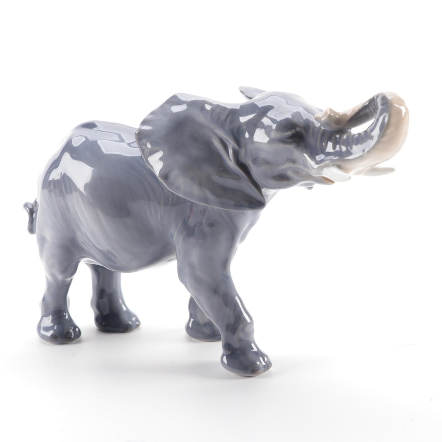 Royal Copenhagen Porcelain Elephant Figurine, Late 19th/Early 20th Century