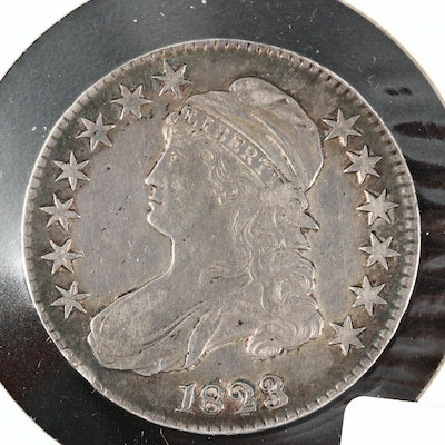1823 Capped Bust Silver Half Dollar, Lettered Edge