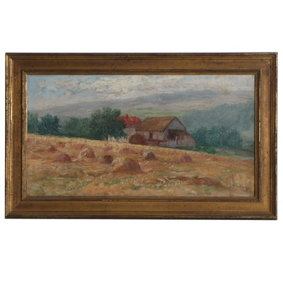 Thomas Corwin Lindsay Rural Landscape Oil Painting, Late 19th Century