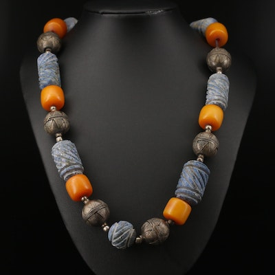 Tribal Style Carved Lapis Lazuli and Resin Bead Necklace with Sterling Clasp
