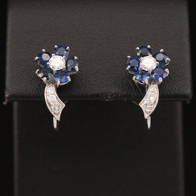 Platinum Diamond and Sapphire Flower Stud Earrings with 14K Accent