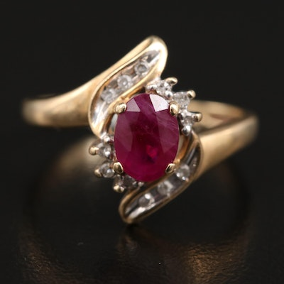 10K Ruby and Diamond Bypass Ring