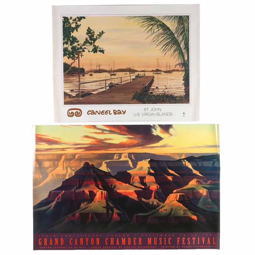 "Posters after Ed Mell ""Canyon Expanse"" and Robert Chace ""Caneel Bay"""