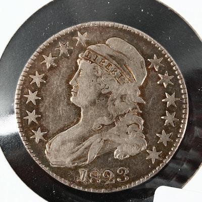"1823 ""Broken 3"" Capped Bust Silver Half Dollar, Lettered Edge"