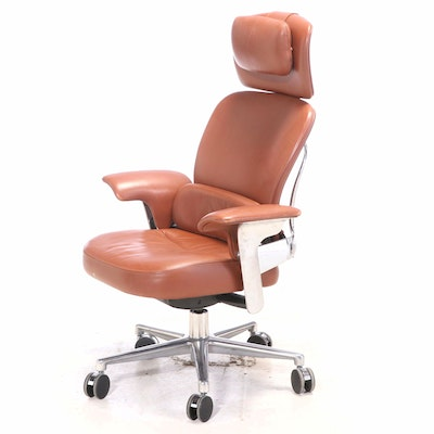 Coach Leather Upholstered Steelcase Executive Office Chair