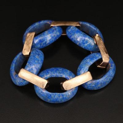14K Carved Lapis Lazuli Link Bracelet