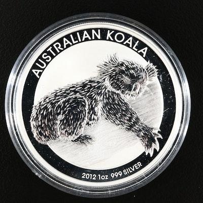 2012 Australian 1 Oz .999 Fine Silver Koala Dollar