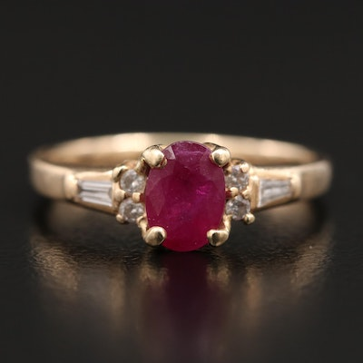 14K 1.08 CT Ruby and Diamond Ring