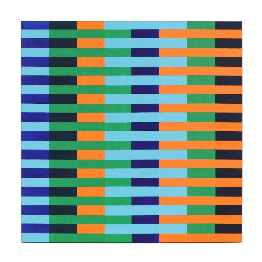 "deSanto Abstract Geometric Acrylic Painting ""Escalade II"""