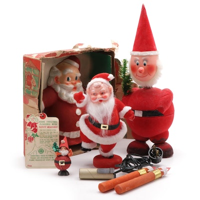 """""""Santa-Glo"""" Tree Topper and Other Santa Decor, Mid to Late 20th Century"""