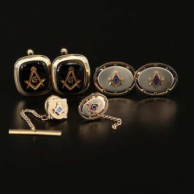 Masonic Enamel Freemason Blue Lodge Cufflink and Tie Tac Sets