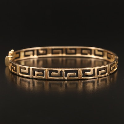 14K Pierced Greek Key Hinged Bangle