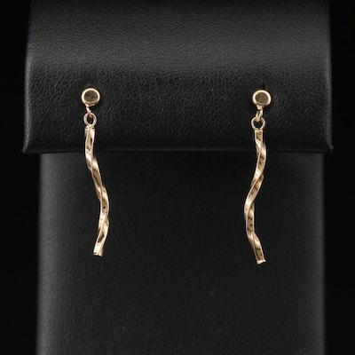 10K Twisted Bar Dangle Earrings