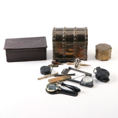 Leather Box, Brass Trunk and Small Box, Including Magnifying Glass and More