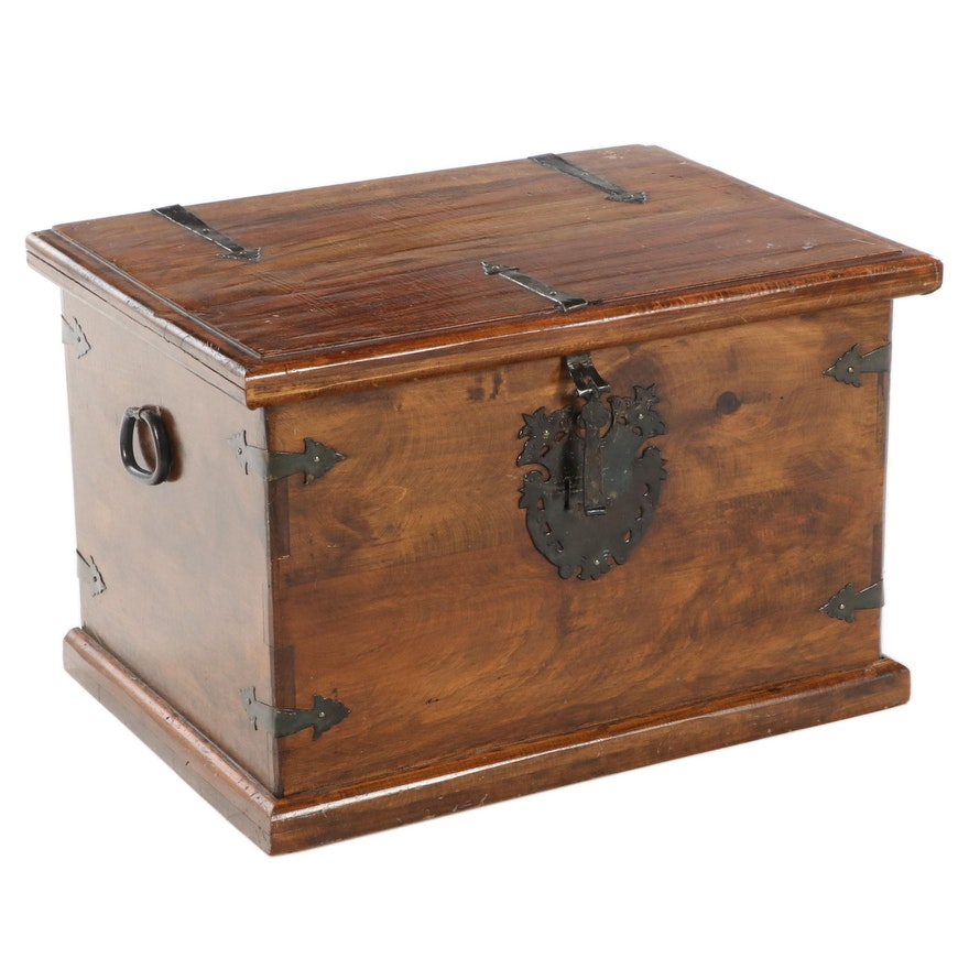Mexican Iron-Mounted Hardwood Lift-Lid Chest