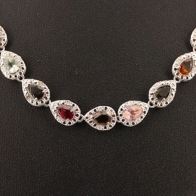 Sterling Silver Tourmaline and Diamond Riviére Necklace