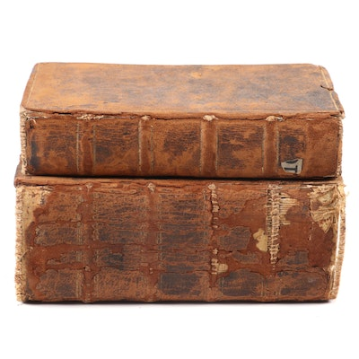 Leather Bound Small German Text Books, Early 18th Century