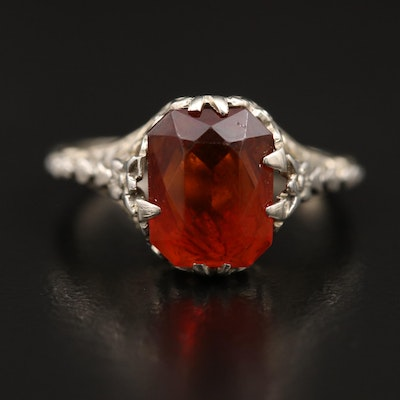 Edwardian 18K Citrine Solitaire Ring