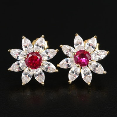 Sterling Silver Ruby and Cubic Zirconia Flower Motif Earrings