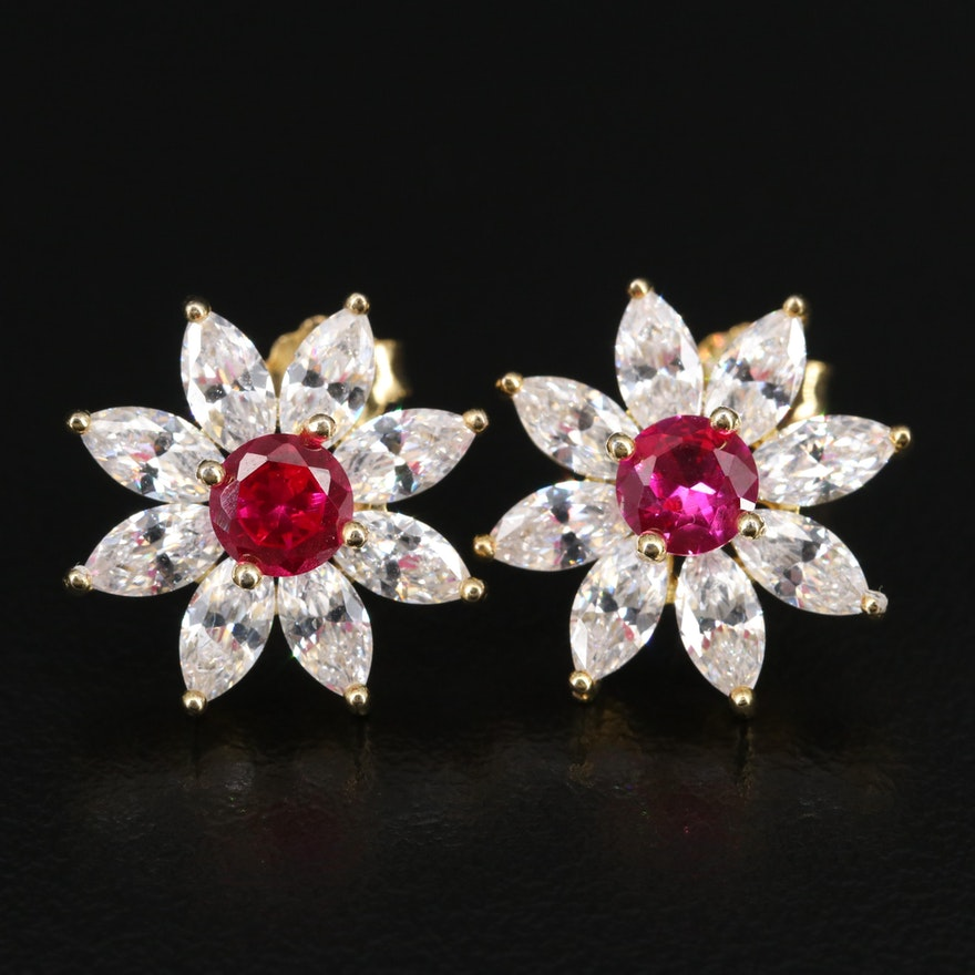 Sterling Silver Ruby and Cubic Zirconia Flower Motif Earrings
