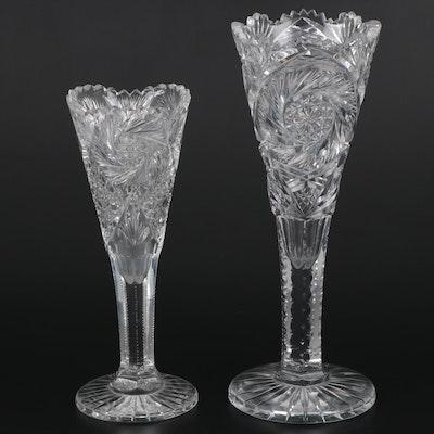 American Brilliant Cut Glass Trumpet Vases