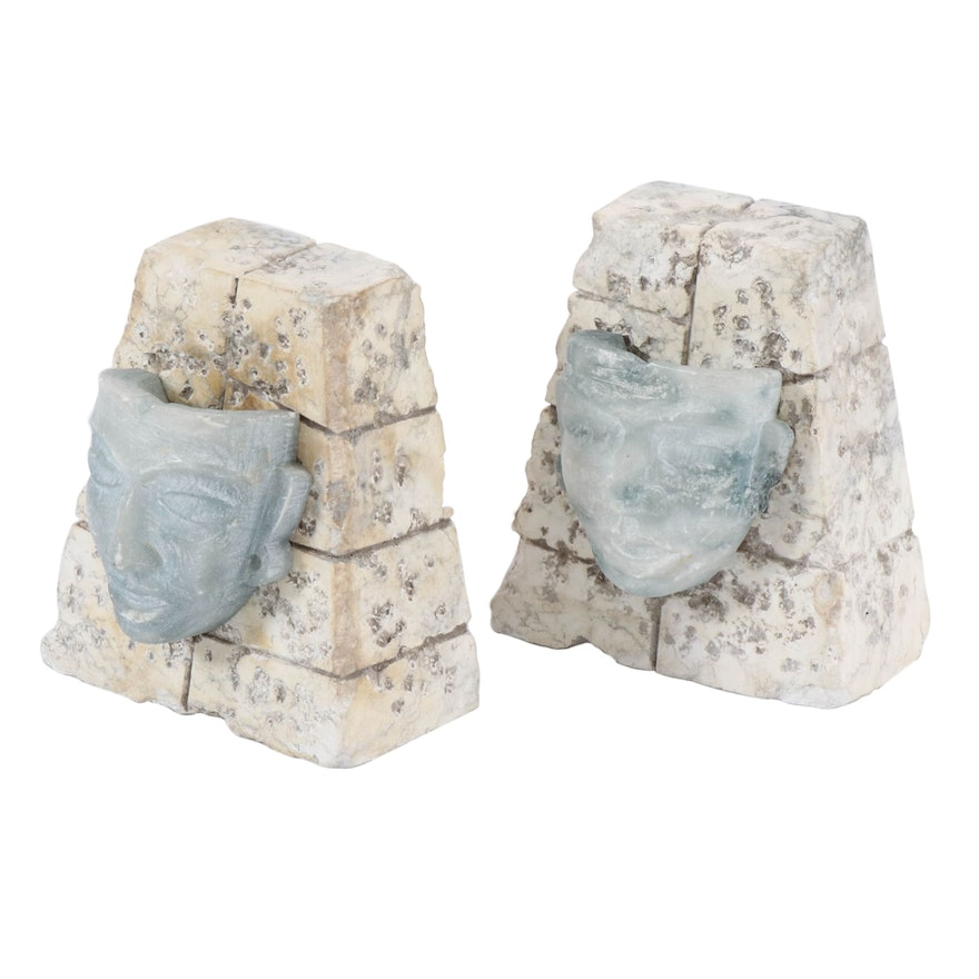 Mayan Mask and Stone Bookends, Mid-20th Century