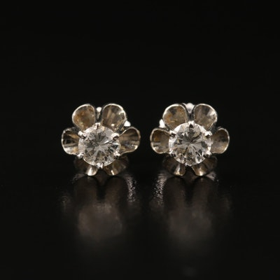 14K 0.50 CTW Buttercup Set Diamond Stud Earrings