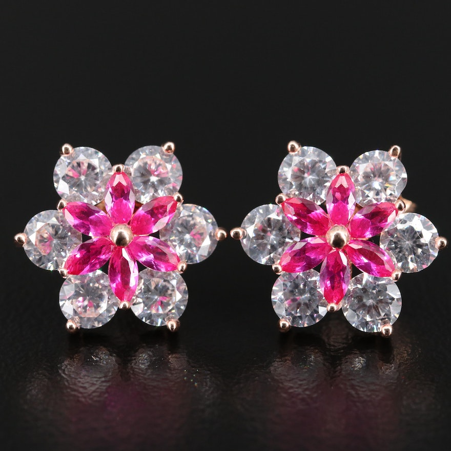 Sterling Silver Ruby and Cubic Zirconia Earrings