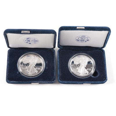 2004-W and 2008-W Proof American Silver Eagle Coins