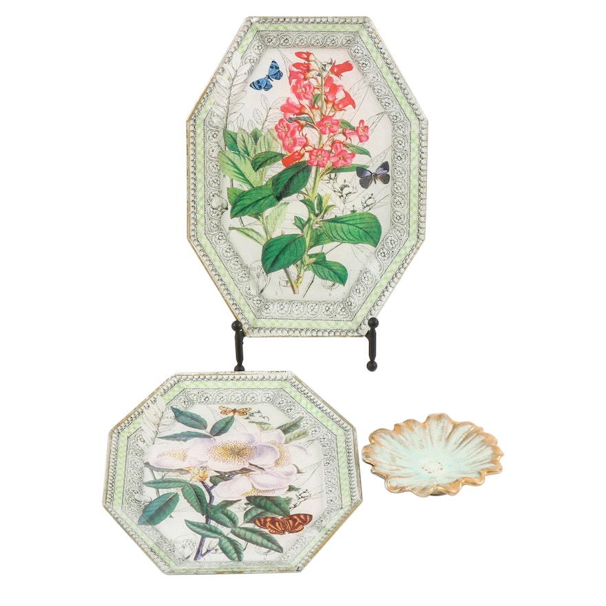 Stangl Pottery Flower Dish and Glass Botanical Decoupaged Trays