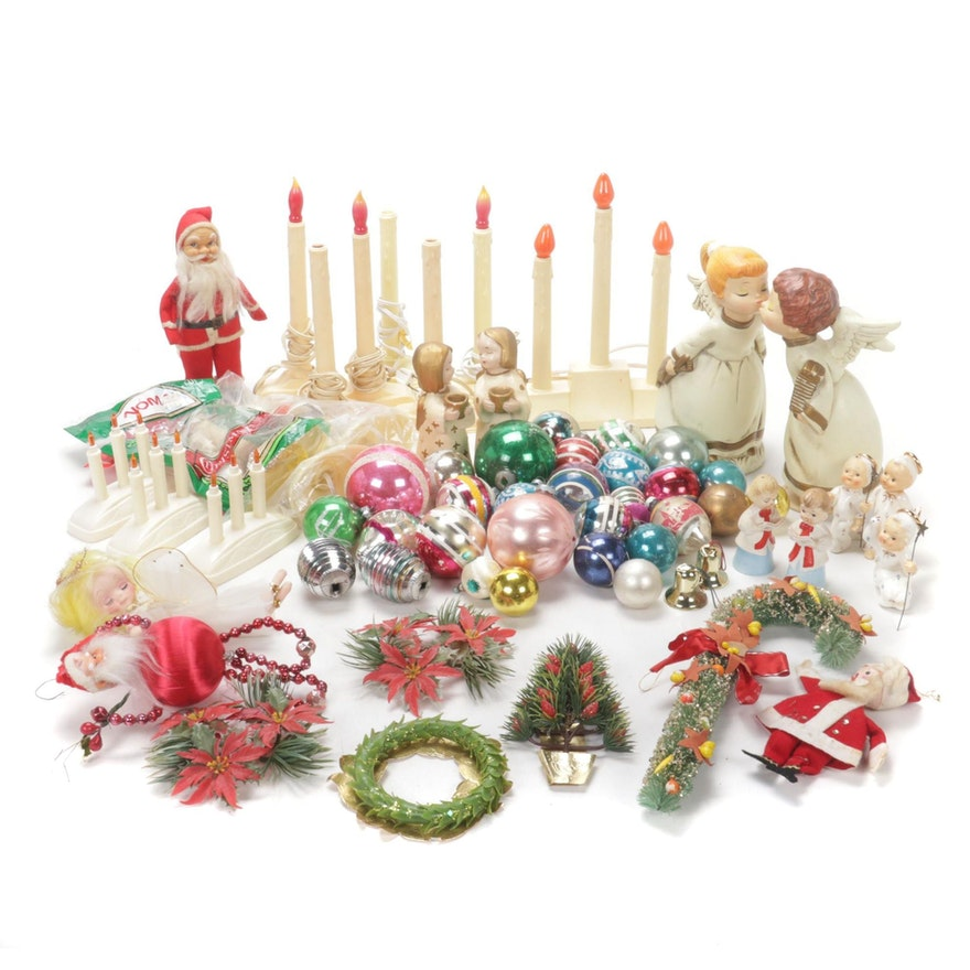 Shiny Brite and Other Glass Christmas Ornaments with Decor, Mid-20th C.