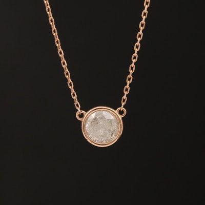 18K Rose Gold Bezel Set 0.92 CT Diamond Solitaire Necklace