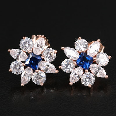 Sterling Silver Spinel and Cubic Zirconia Flower Earrings