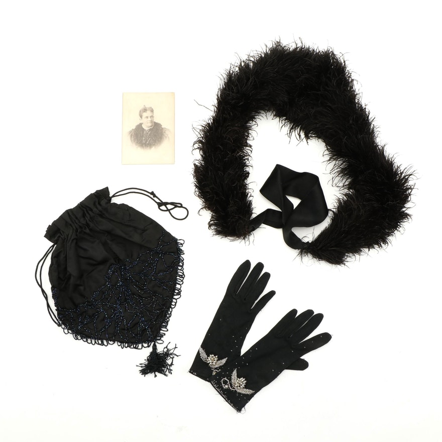 Beaded Reticule, Gloves and Feathered Scarf with Portrait of the Wearer