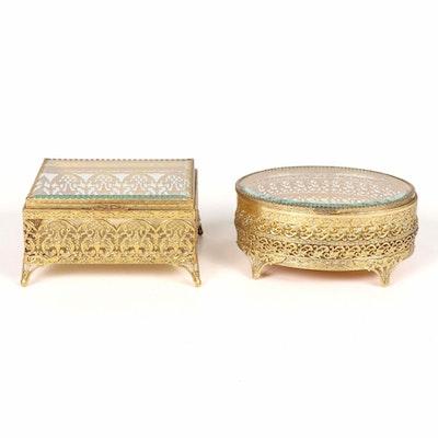 Victorian Style Beveled Glass Ormolu Jewelry Caskets