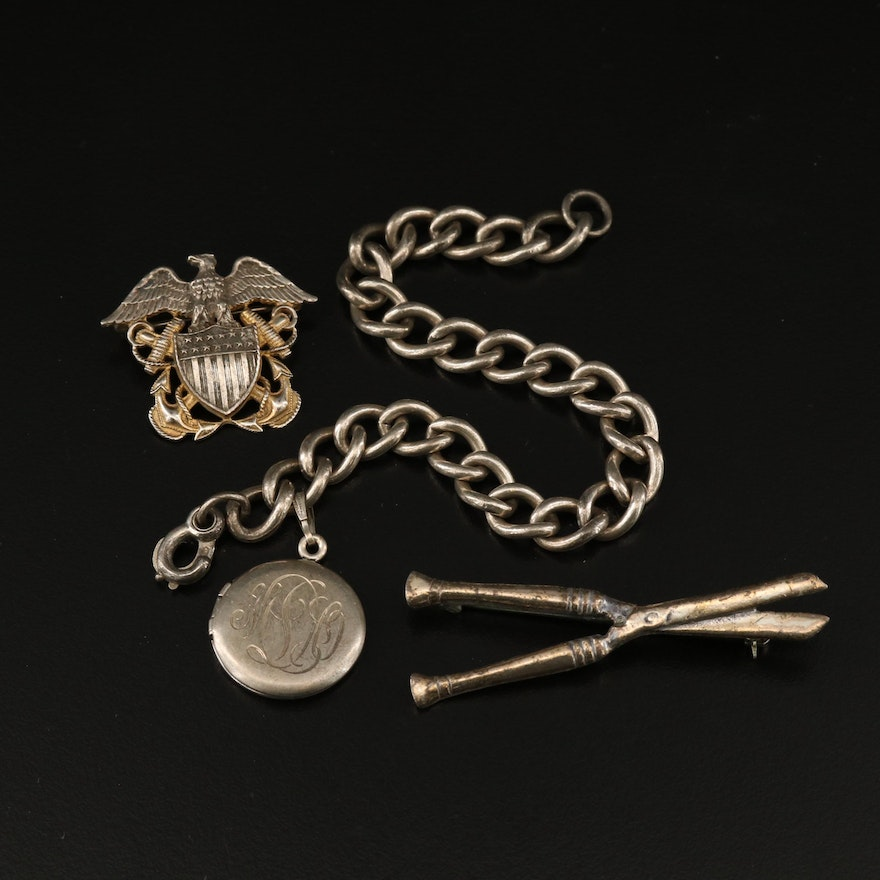 Sterling Bracelet and Pins Including US Naval Anchor Brooch