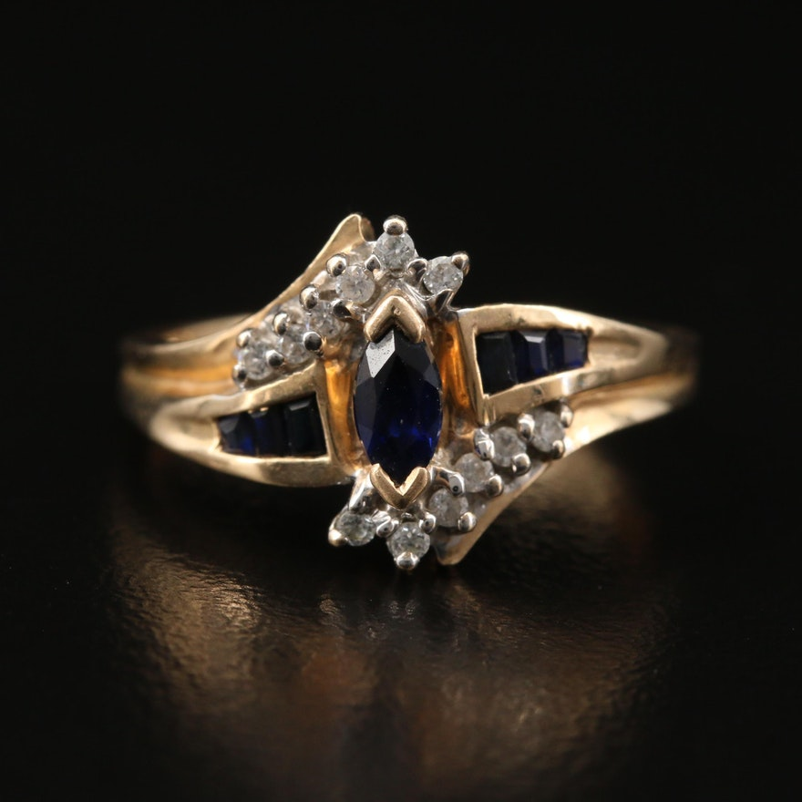 10K Sapphire and Cubic Zirconia Ring with Bypass Design