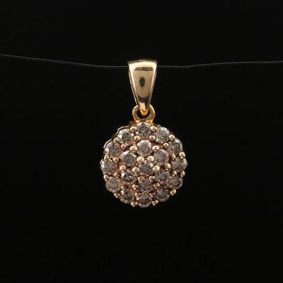10K Diamond Cluster Pendant