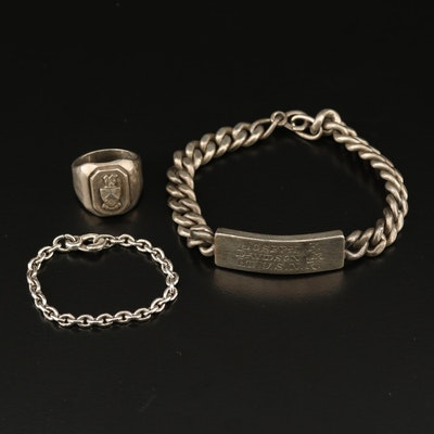 Vintage Sterling ID Bracelet and US Naval Ring