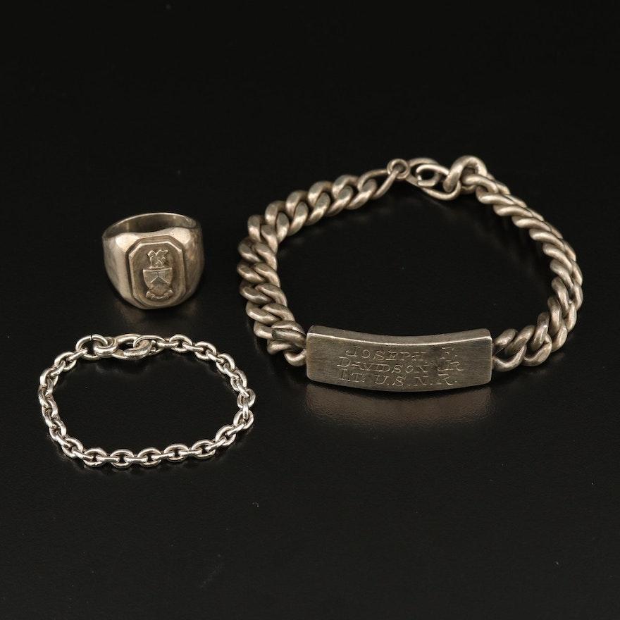 Vintage Sterling ID Bracelet and US Naval Ring