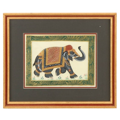 Indian Style Gouache Painting of Decorated Elephant