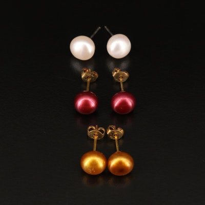 Selection of Dyed Pearl Stud Earrings