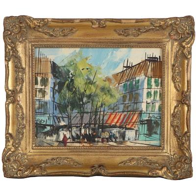 Oil Painting of Street Scene, Late 20th Century