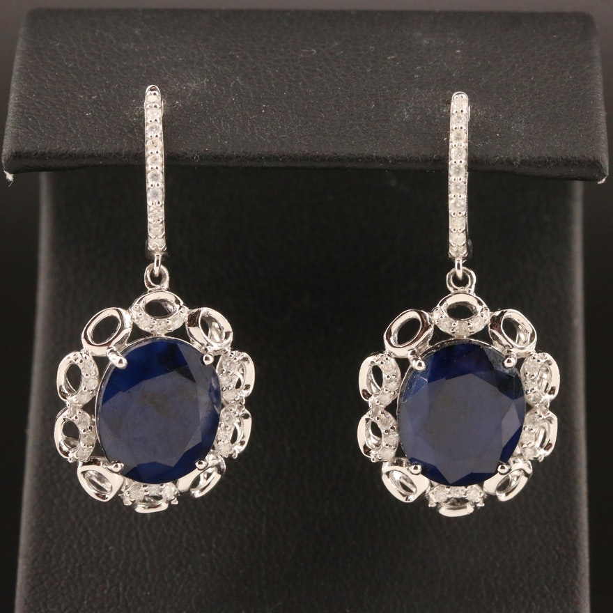 14K Corundum and Diamond Drop Earrings