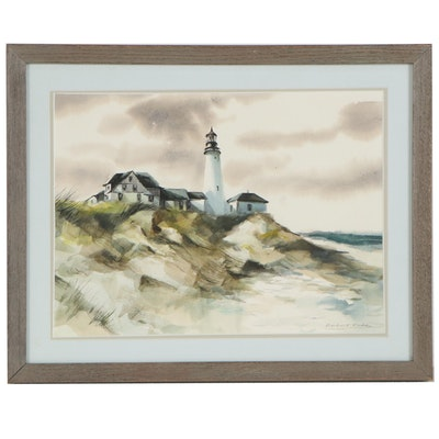 Robert Fabe Watercolor Painting of Lighthouse on the Coast, Late 20th Century