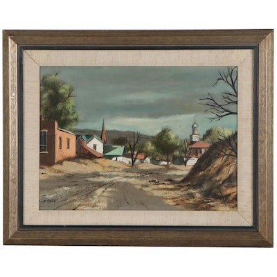 Robert Fabe Oil Painting of Small Village, Late 20th Century