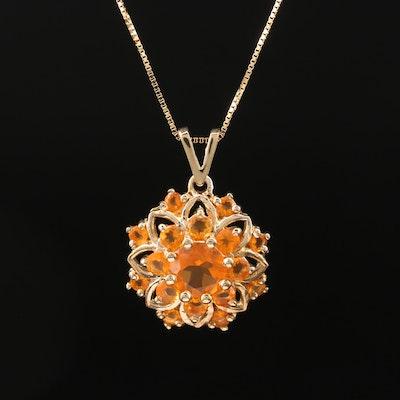 10K Fire Opal Floral Necklace
