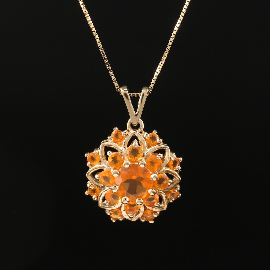 10K Fire Opal Floral Necklace